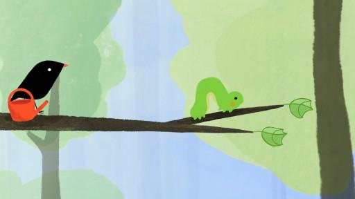 Der kleine Vogel und die Raupe